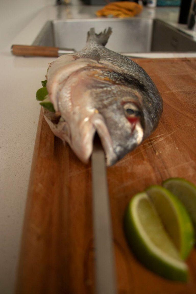 Vis aan het spit voorkant